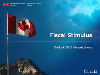 Cover, Fiscal Stimulus, budget 2009 consultations, Government of Canada.